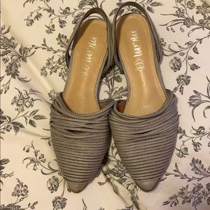Gray leather flats-sling back